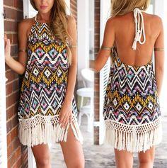 Women Girl Fashion Sexy Wave Printed Backless Tassel Hem Summer Beach Boho Dress