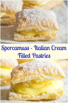A delicious Italian Pastry Cream filled Puff Pastry Square, Sporcamuss, a tradit. - A delicious Italian Pastry Cream filled Puff Pastry Square, Sporcamuss, a traditional recipe from S - Unique Desserts, Just Desserts, Delicious Desserts, Easy Italian Desserts, Italian Recipes, Impressive Desserts, Delicious Donuts, Italian Foods, Gourmet Desserts