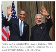 """Barack Obama thanks PM Narendra Modi for strengthening Indo-US ties  """"Obama was one of the first leaders to congratulate Modi after his electoral victory in May 2014 and immediately invited him to visit the White House. Get Narendra Modi's & BJP's latest news and updates with - http://nm4.in/dnldapp http://www.narendramodi.in/downloadapp. Download Now."""""""
