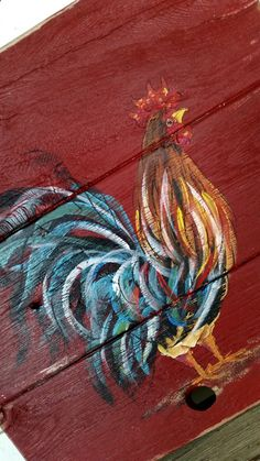 x Rustic Wood Wall Decor Rooster Original Art - Rustique Rooster Painting, Rooster Art, Rooster Decor, Tole Painting, Pallet Painting, Pallet Art, Painting On Wood, Rustic Painting, Wood Paintings
