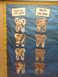 Cute activity for a dental health unit, collage of what's good and bad for your teeth!