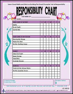 Responsibility Laminated Chart - Girl | Main photo (Cover)