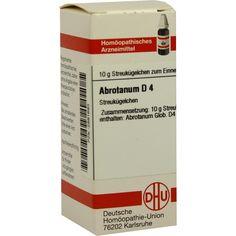 ABROTANUM D 4 Globuli:   Packungsinhalt: 10 g Globuli PZN: 02891693 Hersteller: DHU-Arzneimittel GmbH & Co. KG Preis: 5,50 EUR inkl. 19 %…