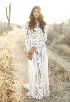 Discount Charming White Long Prom Dresses With High See Through Long Sleeves Straight Floor Length Style And Lace Material For Wedding Party Evening Online with $142.41/Piece | DHgate