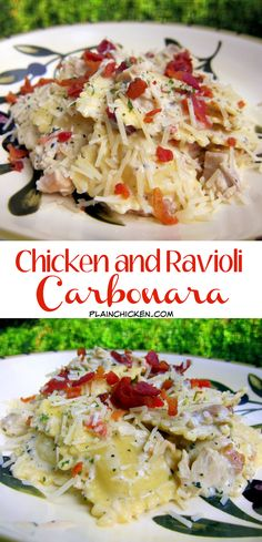 Chicken and Ravioli Carbonara - refrigerated ravioli and chicken tossed in a quick cream sauce and topped with bacon. Great weeknight pasta dish using Celentano ravioli! Pasta Recipes, Chicken Recipes, Cooking Recipes, Recipes With Ravioli, Chicken Meals, Healthy Chicken, Dinner Recipes, Chicken Ravioli, Ravioli Lasagna
