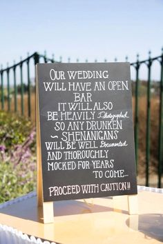 Take a look at the best funny wedding signs in the photos below and get ideas for your wedding! … ideas, ideas and more ideas about HOW TO plan a wedding ♡ Image source Funny Wedding Signs, Rustic Wedding Signs, Wedding Humor, Wedding Tips, Diy Wedding, Wedding Events, Wedding Reception, Reception Ideas, Dream Wedding