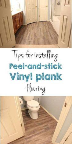 Tips for installing peel and stick vinyl plank flooring in your bathroom Vinyl Plank Flooring, Diy Flooring, Bathroom Flooring, Laminate Flooring, Wood Planks, Flooring Ideas, Vinyl Planks, Modern Flooring, Flooring Sale