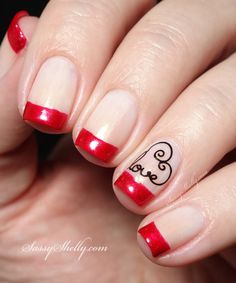 Valentine's Day Nails - red french tip with UberChic Beauty stamping | Sassy Shelly