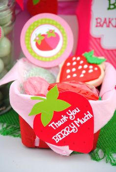 STRAWBERRY Birthday Party - Strawberry THANK YOU TAGS