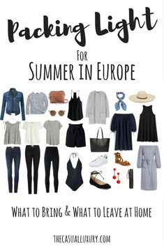 Packing Light: European Summer Edition The casual luxury # colorful …, … – european travel outfit summer Backpacking Europe, Packing For Europe, Packing Tips For Travel, Europe Europe, Packing Lists, Luggage Packing, Vacation Packing, Vacation Packages, Travel Essentials