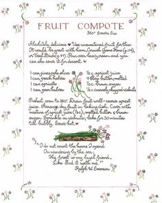 Fruit Compote by Susan Branch. Old Recipes, Vintage Recipes, Fruit Recipes, Cookbook Recipes, Candy Recipes, Susan Branch Blog, Susan Recipe, Branch Art, Fruit Compote