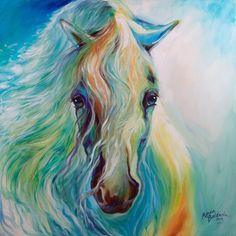 M BALDWIN ORIGINAL OIL PAINTING BLUE EQUUS HORSE DREAMER ~ MARCIA BALDWIN