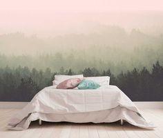 Vlies fotobehang Uitzicht op mistig bos Vintage | Muurmode.nl