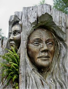 Maori Carvings, Lake Taupo , New Zealand.