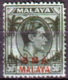 British Military Administration of Straits Settlements 1945 cents Black on emerald Fine Used SG 14a Scott 267 Other Asian and British Commonwealth Stamps HERE!