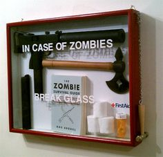 zombies gag gift, survival kits, gift ideas, shadow box, walking dead, zombie apocalypse, emergency kits, man caves, christmas gifts