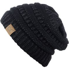 Women's C.C Unisex Trendy Chunky Soft Stretch Cable Knit Beanie... ($5.54) ❤ liked on Polyvore featuring tops, black metallic, multi color tops, colorful tops, unisex tops, stretch top and metallic top
