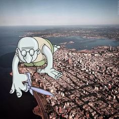 """""""Photo Invasion"""" is the ongoing project of London-based Brazilian illustrator Lucas Levitan. For this creative project, Lucas picks photos from the people Funny Cartoon Characters, Cute Characters, Funny Cartoons, Illustration Photo, Photography Illustration, Fotos Do Instagram, Photo Instagram, Instagram Users, Photo Truquée"""