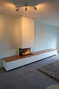 Living Tv, New Living Room, Living Room Sets, Home And Living, Linear Fireplace, Modern Fireplace, Living Room With Fireplace, Tv Wall Design, House Design