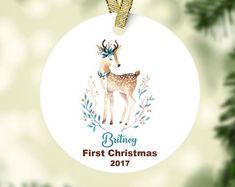 Baby First Christmas Ornament, Babies First Christmas, Christmas 2017, Christmas Ornaments, Decorative Plates, Holiday Decor, Etsy, Xmas Ornaments, Christmas Jewelry