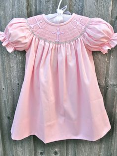 Smocked Cross Easter Dress- reminds me of the kind of dresses my sisters and I wore as children. And, YES my mother made them! Girls Easter Dresses, Boys Wear, Smock Dress, Sweet Girls, Fashion Prints, Girly Stuff, Kid Stuff, Cute Kids, Smocking