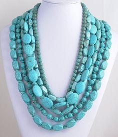 Chunky Turquoise Necklace Multi Strand - 6 Strands Assorted Stones