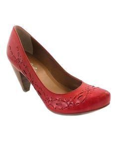 Red Breezy Leather Pump by Bos. and Co. on Zulily