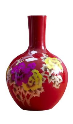 Vases, Red Chinese Porcelain Flower Vase, one of over 3,000 limited production interior design inspirations inc, furniture, lighting, mirrors, tabletop accents and gift ideas to enjoy pin and share at InStyle Decor Beverly Hills Hollywood Luxury Home Decor enjoy & happy pinning