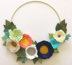 MODERN WREATH // Felt Flower Wreath // Floral Wreath // Gold Hoop Wreath // Roses + Succulents // Coral + Navy + Aqua + Gray by HoneyCrown on Etsy https://www.etsy.com/listing/515351804/modern-wreath-felt-flower-wreath-floral