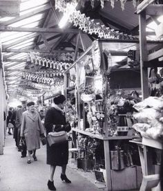 Bargain hunter: Stalls in the old indoor Barrow Market in the EM ARCHIVE Barrow In Furness, Shopping Street, Morrisons, Cumbria, Old Photos, Stalls, 1960s, History, Archive