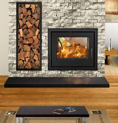Image result for built in log burner double sided