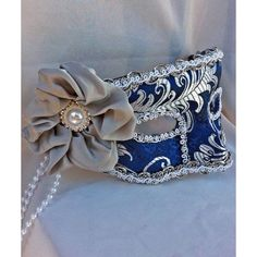 Royal Blue and Silver Brocade Masquerade Ball Mask ❤ liked on Polyvore featuring masks