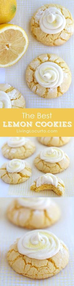 Lemon Crinkle Cookies Recipe with Lemon Frosting. The best lemon cookies you'll make!! Livinglocurto.com