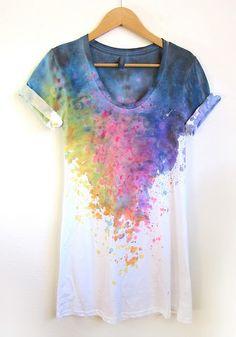 Splash Dyed Hand Painted Tunic Tee Dress by Alyssa Zukas AKA Two String Jane
