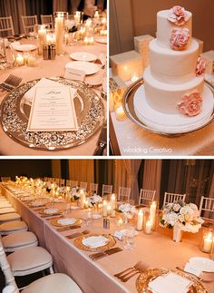 Soft pink and silver. Gorgeous.     La Tavola linens and Tablescapes rentals, and cake by TipsyCake in Chicago, Wedding Creativo Photography