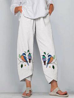 Cute Fashion, Fashion Pants, Woman Fashion, Ladies Fashion, Floral Denim, Pants Pattern, Printed Pants, Sewing Clothes, Clothes For Sale