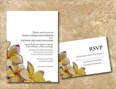 Plumeria wedding invitation