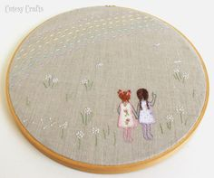 'Two little girls at the meadow' with embroidered hairs, flowers  and rainbow, appliqued dresses - Embroidery Hoop Patterns - Cutesy Crafts