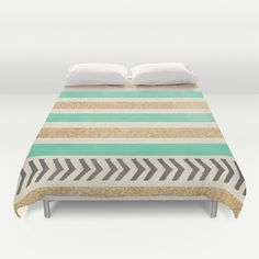 MINT+AND+GOLD+STRIPES+AND+ARROWS+Duvet+Cover+by+Allyson+Johnson+-+$99.00