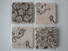 Stamped tile coasters...on link there are a lot of other projects before this one...just keep scrolling down and you'll find it; I swear ;)