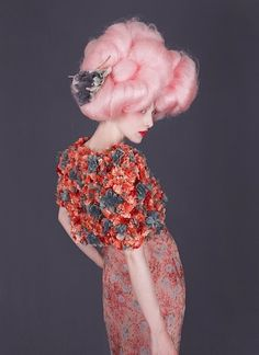 pink, hair, luxury, embellishments, floral, texture, 3/4 length, red, grey, pattern mix, print, high waisted, pencil skirt from: froufroufashionista