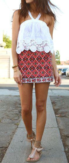 Graphic print skirt, lace shirt