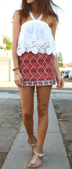 I know the skirt was from topshop, the shoes are isabel marant, the top I have no idea but its pretty :)