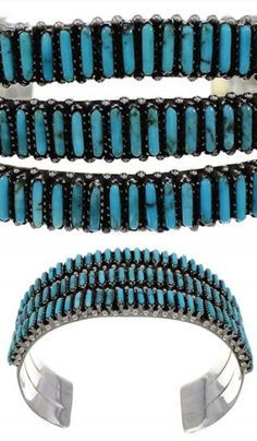 Turquoise Genuine Sterling Silver Needlepoint Cuff Bracelet www.turquoisejewelry.com