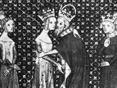 Na soudobé miniatuře z návštěvy Karla IV. roku 1378 u francouzské královny je...