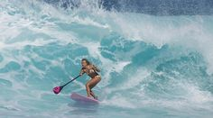 Roxy Surfer Girl Stand Up Paddle surfing Hawaii waves  http://www.vaninawalsh.com/