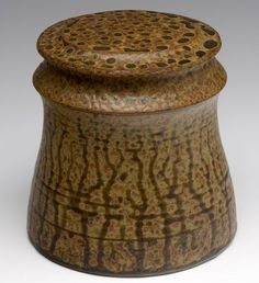 VAL CUSHING Glazed stoneware lidded vessel, 1980.