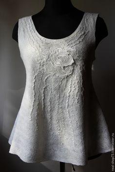 Купить Валяная блузка-топ Белая роза - цветочный, нуно-фелтинг, одежда для женщин