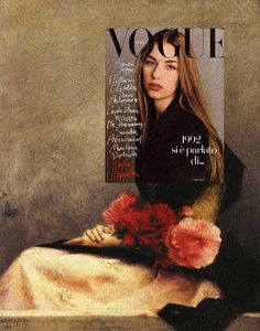 Sofia with Flowers on Her Lap Sofia Coppola, Vogue Italia December 1992 + Sitting Girl With Flowers on Her Lap by Alfred Agache