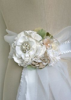 Made to Order Custom Floral Wedding Gown Sash by rosyposydesigns, $160.00